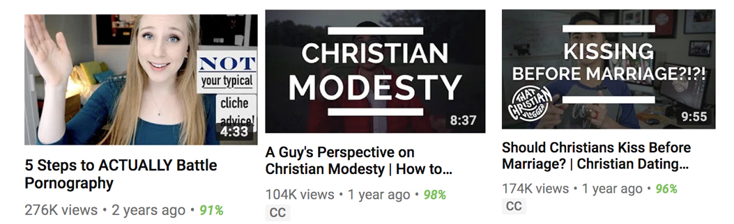 Browse the most popular YouTube channels amongst young Christians and you'll find the most popular videos to consistently broach the topic of sex and relationships